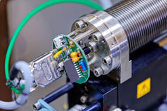 Detail of machinery in physics laboratory Royalty Free Stock Photo