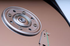 Detail of a magnetic computer hard disk Stock Photos