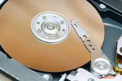 Detail of a magnetic computer hard disk Stock Photo