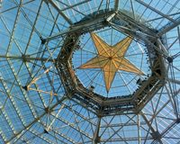 Detail of main hall star ceiling in Gaylord Texan hotel. Detail of main hall star ceiling in Gaylord hotel. Texas, USA Stock Photo