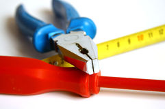 Detail of main hand tools. Details of main tools for home works Stock Photo