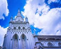 Detail of main steeple of St Andrews Cathedral Singapore. Detail of main steeple of St Andrews Cathedral in Singapore. It is Anglican church royalty free stock photo