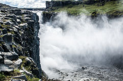 Detail of majestic waterfalls with rocks around Stock Photography