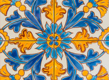 Detail of Maltese tile. Ornamental floral mosaic tile detail Royalty Free Stock Photography
