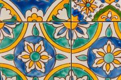 Detail of Maltese tile. Ornamental floral mosaic tile detail Stock Images