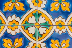 Detail of Maltese tile. Ornamental floral mosaic tile detail Stock Photography