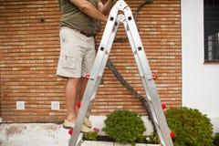 Detail of man body climbing a ladder. Royalty Free Stock Image
