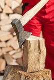 Detail of man chopping firewood Royalty Free Stock Photography