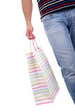 Detail of a  man doing shopping,with bags Royalty Free Stock Photography