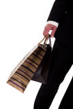 Detail of a  man doing shopping,with bags Royalty Free Stock Photo