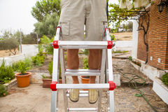 Detail of man legs in a ladder. Stock Images