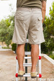 Detail of man legs in a ladder. Royalty Free Stock Photos