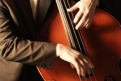 Detail Of Man Playing Double Bass Stock Image