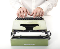 Detail of man with typewriter Stock Images