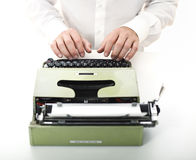 Detail of man with typewriter Royalty Free Stock Photos