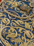 Detail of mantle, Virgin of Tears, Holy Week in Seville. Detail of the embroidered mantle in gold of the Virgin of Tears, Holy Week in Seville, Spain royalty free stock images