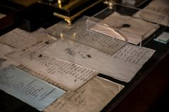 Detail - Manuscript and Drawings of Alexander Pushkin. In The Alexander Pushkin Museum and Memorial Apartment in Saint Petersburg stock photos