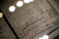 Manuscript of Tolstoy`s Novel `Anna Karenina` - Interior of The Leo Tolstoy State Museum in Moscow stock photos