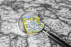 The detail of the Map of Egypt. Map of Egypt under the magnifying glass royalty free stock image