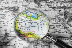 The detail of the Map of Libya Royalty Free Stock Photography