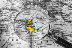 The detail of the Map of Tunisia Stock Image
