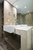 Detail of a marble bathroom. With mosaic tiles in brown Stock Photo