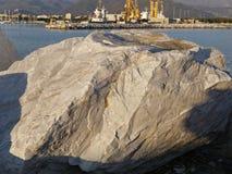 detail of marble block in the harbour of marina di carrara Royalty Free Stock Photo