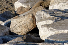 detail of marble block in the harbour of marina di carrara Royalty Free Stock Images
