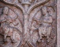 Detail of marble carvings on the Baptistery, Parma Stock Image