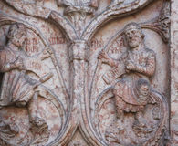 Detail of marble carvings on the Baptistery, Parma Stock Photos