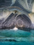 Detail of the marble cathedral in lake General Carrera with blue water, Patagonia of Chile. Carretera Austral.  royalty free stock images