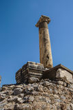 Detail marble column. From ancient Greek agora  Ephesus, Turkey Royalty Free Stock Image