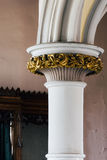 Detail of Marble Column, Arch and Gold Leaf Plaster Ornamentation - Abandoned Church Stock Photography