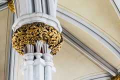 Detail of Marble Column, Arch and Gold Leaf Plaster Ornamentation - Abandoned Church Royalty Free Stock Photos