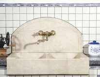 Detail of marble sink in the kitchen Royalty Free Stock Image