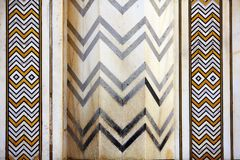 Detail marbled mosaic of symmetric jagged lines Stock Photo