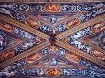 Detail of the marvelous Renaissance frescoes on the ceiling of t royalty free stock images