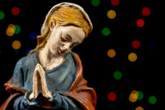 Detail of Mary Virgin. Nativity scene figures. Christmas traditions. Royalty Free Stock Photos