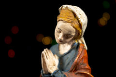 Detail of Mary Virgin. Nativity scene figures. Christmas traditions. Stock Photography
