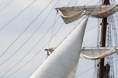 Detail of mast and sails of a three master Stock Photo