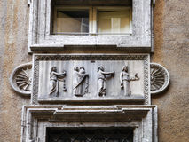 Detail of Mattei Palace, Rome, Italy. The Palazzo Mattei di Giove is the most prominent among a group of Mattei houses that forms the insula Mattei in Rome Stock Photos