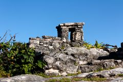 Detail of Mayan Ruins at Tulum royalty free stock photography