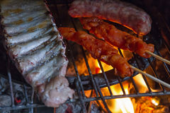 Detail of meat on barbecue fire Stock Photos
