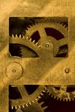 Detail of the mechanism. The details of the old clock mechanism with gears of brass Stock Images