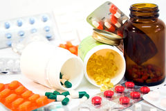 Detail of medicine bottles Royalty Free Stock Photo