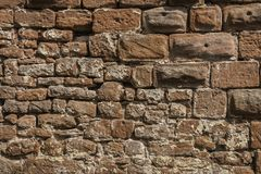 Stonewall of a medieval castle Stock Photo