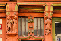 Detail. Medieval house facade. Tours . France. Detail of a medieval facade with decorated wooden columns. Tours . France Stock Photos