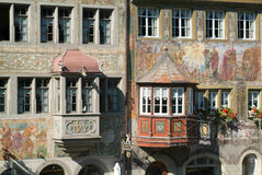 Detail of a medieval house of Stein am Rhein Stock Images