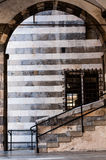 Detail of medieval palace `Andrea Doria` in genoa italy in its old city center, namely piazza san matteo. A detail of medieval palace `Andrea Doria` in genoa stock image