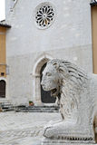 Detail of a medieval portal in italy. collegiate church, Visso - Italy Stock Photography